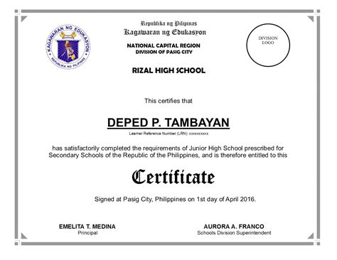 certification letter of graduation deped diploma sle wordings yahoo image search results