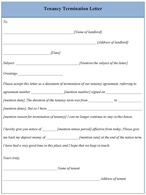 Tenancy Agreement Letter Format Lease Termination Letter To Landlord Sle Notice Of End Lease Letter Sle 10 Termination