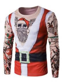 Curtains 24 Inches Long Red Crew Neck 3d Father Christmas Costume Tattoo Print T