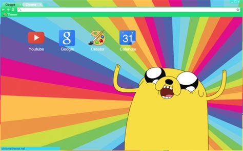 themes google chrome adventure time adventure time s jake rainbow chrome theme themebeta