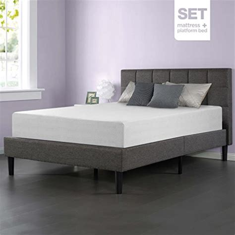 Platform Bed And Mattress Set Sleep Master Memory Foam 12 Inch Mattress And Upholstered Square Stitched Platform Bed Set