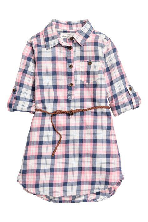 Frozon Hm 7y Sale shirt dress pink checked sale h m us