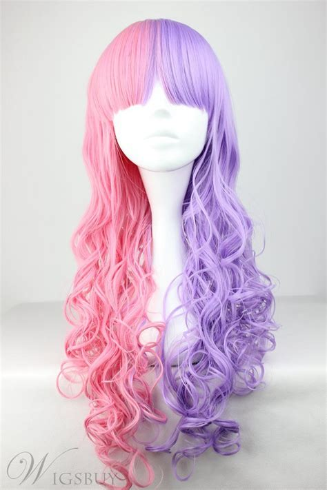 pretty lolita hairstyle long curly pink  purple mixed