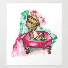 Molinari Glitter Pumps by Original Watercolor And Gold Gouache Fashion Illustration