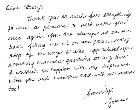 Mortgage Lender Thank You Letter Testimonial Letter Stacey Loan One Lender