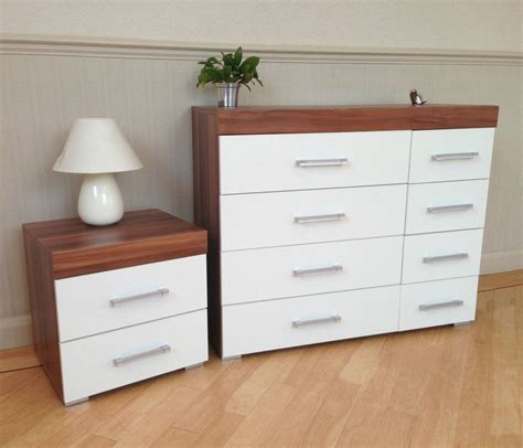Walnut And White Bedroom Furniture by White Walnut 4 4 Drawer Chest 2 Drawer Bedside Cabinet