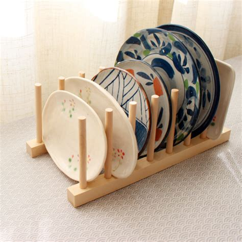 Dish Rack Wood by 1set Zakka Wood Dish Rack For Dinner Plates Non Folding
