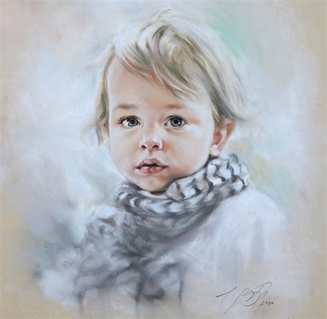 Handmade Portraits - custom pastel portrait painting of child from by bograart