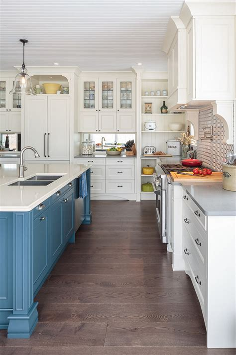 farmhouse kitchen with blue island home bunch interior design ideas