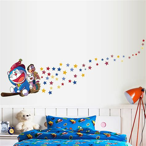 Wallsticker Doraemon 2 aliexpress buy 1 set 31 86 inch wall stickers doraemon drive the broom flying