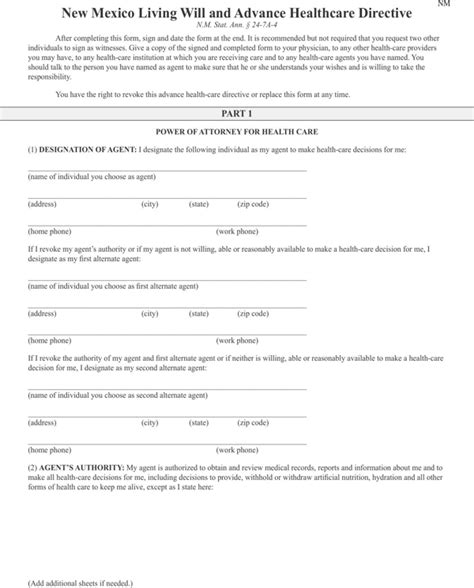 will new mexico receipt template new mexico living will and advance healthcare