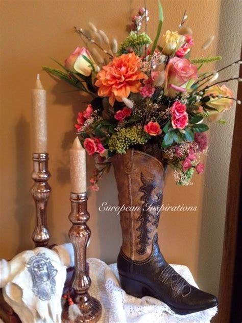 cowboy boot silk floral arrangement a beautiful