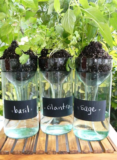 diy self watering herb garden 44 diy wine bottles crafts and ideas on how to cut glass