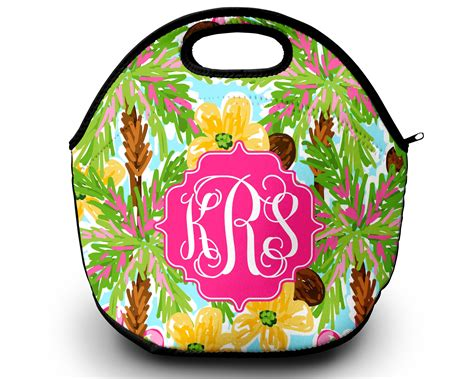 monogrammed lilly pulitzer inspired lunch tote sassy
