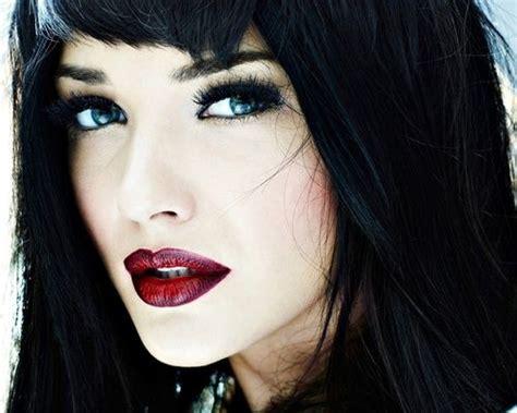 dark red lipsticks on pinterest fashion fair makeup black hair blue eyes red lips and fair skin beauty