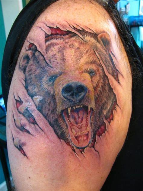 bear claw ripping through skin tattoo creativefan