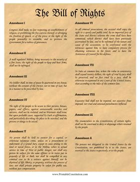 printable version of the bill of rights bill of rights parchment founding document