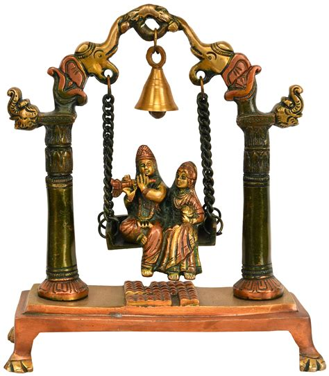 swing bell radha krishna on a swing with bell atop