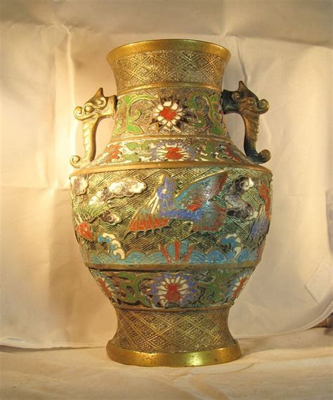lg antique japanese chleve bronze brass urn vase