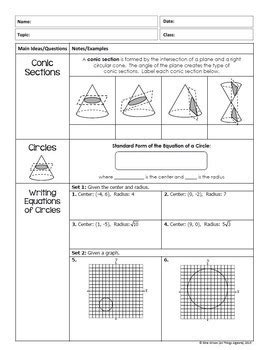 conic sections notes pdf conic sections circles ellipses hyperbolas parabolas