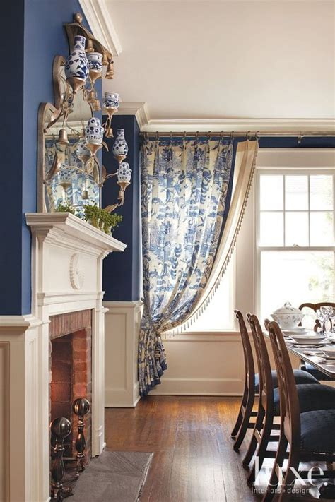 Traditional Dining Room Furniture traditional blue dining room with wainscoting luxe