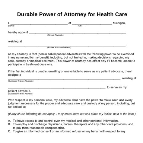 free printable durable power of attorney template power of attorney templates 10 free word pdf documents