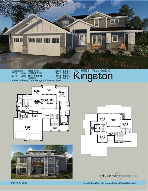 Advanced House Plans by Kingston 1 1 2 Story Craftsman By Advanced House Plans