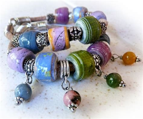 Paper Craft Jewellery - paper bead leather bracelet 5
