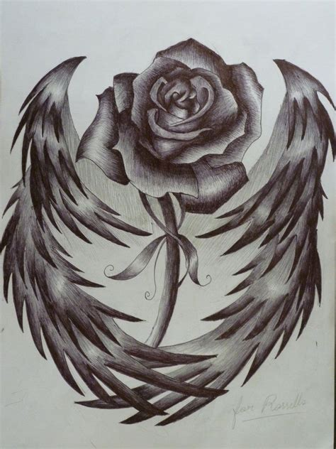 rose tattoo with wings w wings roses