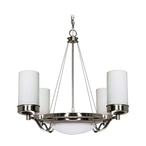 Contemporary Brushed Nickel Chandelier Modern Chandelier With White Glass In Brushed Nickel Finish 60 607 Destination Lighting