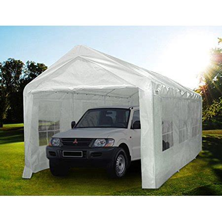 quictent large canopy carport  window style sides heavy duty car canopy white walmartcom