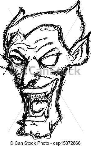 clip art vector of grunge evil face grunge evil face