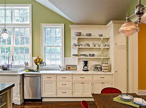 kitchens with shelves green kitchen backsplash extended behind open shelves cream