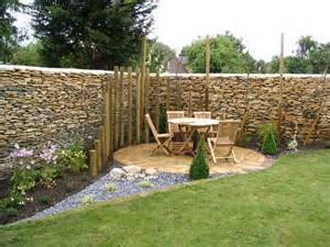 Small Simple Garden Ideas Corner Patio With Palisade Effect Partial Enclosure That Adds Interest Deck And Patio