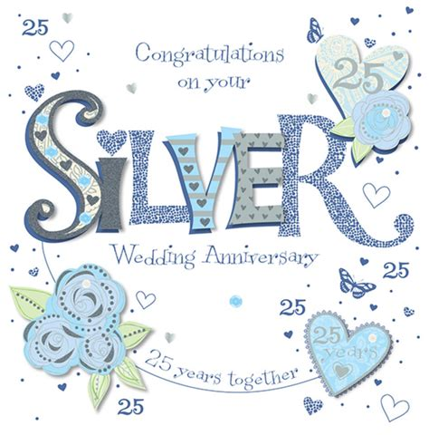 25th Wedding Anniversary Card And In handmade silver 25th wedding anniversary greeting card
