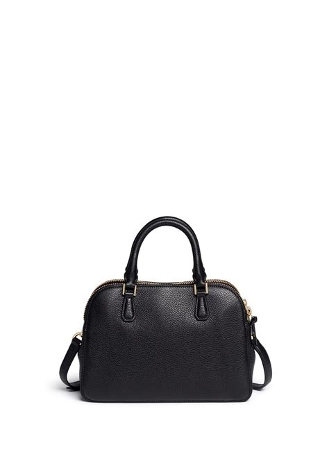 lyst burch robinson small zip pebbled leather satchel in black