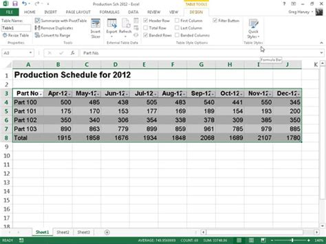layout table exle format tables from the ribbon in excel 2013 dummies