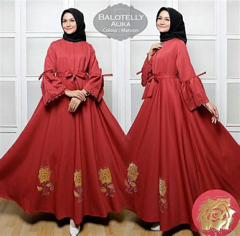 baju muslim gamis balotelli umbrella polos maxi dress