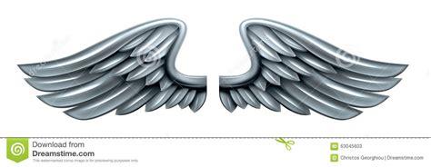 silver steel metal wings stock vector image 63045603
