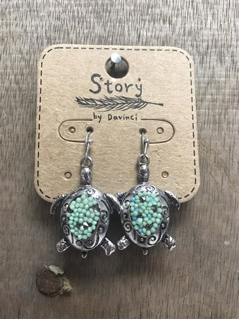 beaded turtle earrings silver and turquoise beaded turtle earrings