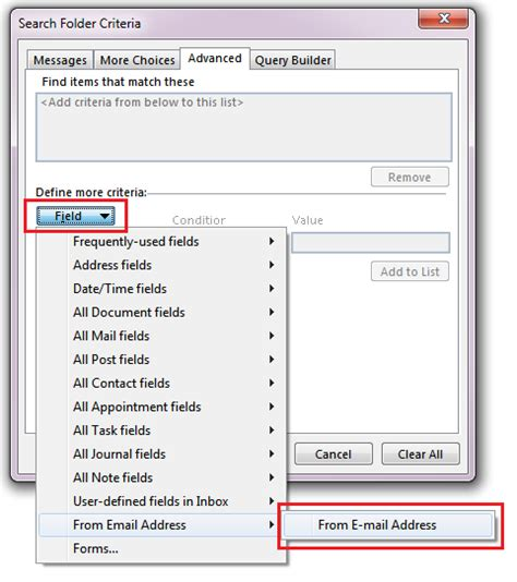 Outlook Search For Email Address Outlook Search Folder Search Actual E Mail Address Not