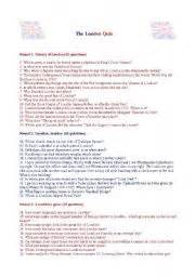quiz questions london esl worksheets for adults the london quiz