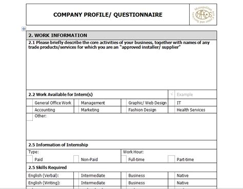 company profile layout exle sle of business company profile template excel tmp