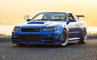 Nissan Gtr 34 Nissan Skyline Gt R R34 Car Wheels Tuning Wallpaper
