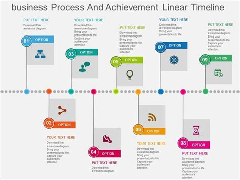 business process and achievement linear timeline flat