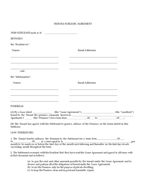 subletting lease agreement template indiana sublease agreement legalforms org