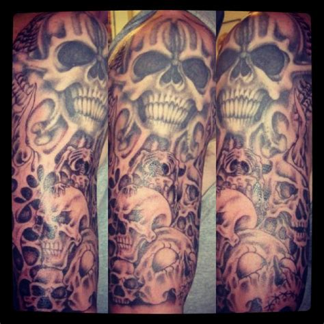 skull sleeve tattoos sleeve exclusivetattoodotcom