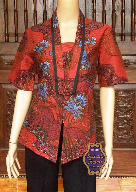 Grosir Mutah Sogan Seling Blouse blouse batik lengan pendek merah by danar hadi mr13 klikplaza shop
