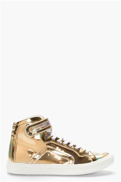 gold sneakers for hardy metallic gold leather disco high top sneakers