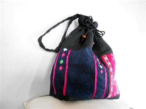 Handmade Drawstring Bags - drawstring bags black bag hemp fabric with hmong shirt